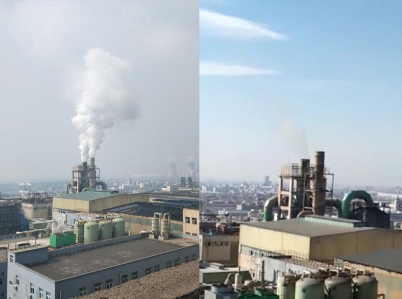 烟气脱白前后对比-博莱达环境